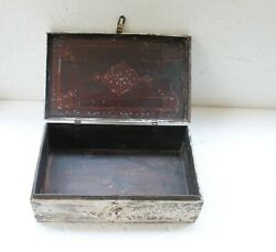Antique Old Rosewood Unique Shape Rare Mughal Painted Money Chest Box Nh6020