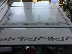 Vintage – Mid-century White Enamel Top Table W/ext Leaves And Pull-out Drawer