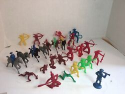 Lot Of 32 Antique Toy Cowboy And Indian Figures Marx, Mpc , Others