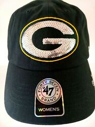 Green Bay Packers Women's Baseball Cap With Sparkle Sequin Adjustable By 47