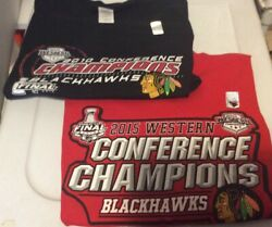 Lot Of 2 Chicago Blackhawks 2010 And 2015 Stanley Cup Champions T-shirt Size L New