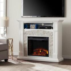 Southern Enterprises Electric Fireplace Tv Stand Classic Multi-color Flames