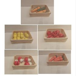 Wooden Play Food Crates Fruit Vegetables In Crates Roleplay Pretend Play