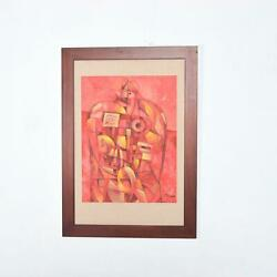 Mexican Modernist Byron Galvez Abstract Mixed Media Art Pink Rooster