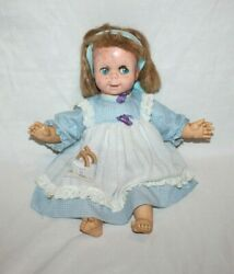 Vintage 1965 Mattel Baby Say And039n See Animated Talking Doll Works Blue Dress 17