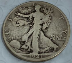 1921-d Walking Liberty Silver Half F+ / Vf - Full Date And Rims Awesome Find
