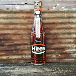 Vintage Hires Root Beer Thermometer Sign Metal Bottle Soda Pop Sign 29 Inch Nice