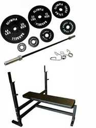 Ader Heavy Flat Bench Rack With 7and039 Olympic Bar And 107.5kg/237lbs Weight Sets