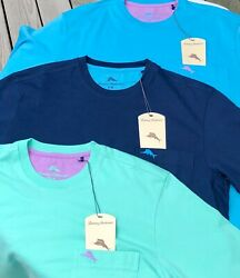 Tommy Bahama Menand039s Cool Cotton Crew Neck Pocket T Shirt S - Xxl Navy Blue Green