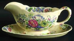 Franciscan Strathmore Ironstone Blue Multicolor Gravy Boat And Underplate