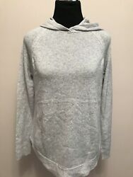 355 Nwt Theory Curved Hem Hoodie Feather Cashmere Foggy Gray Sweater Sz S