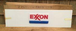 Pair Of Vintage Nos Embossed Exxon Motor Oil Service Station Gas Pump Sign W Box