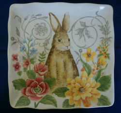11 Easter Rabbit Dinner Plates Maxcera Bunny Porcelain Set Of 6 2 W/ Flaws