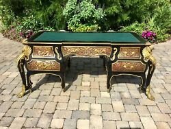 Vintage Ornate French Louis Xiv Brass Figures And Inlay Desk - Gorgeous...