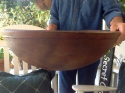 Antique Primitive Out Of Round 22.5 X 7.75 Huge Wood Bowl 1 Lip Beautiful...