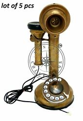 Antique Brass Landline Telephone Vintage Rotary Dial Candlestick Phone Lot Of 5