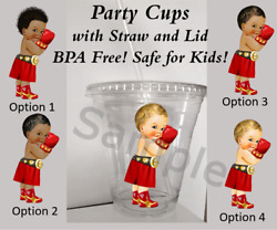 Little Boxer Baby Clear Plastic Cup With Straw And Lid 12oz Cups Red Gold