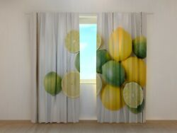 3d Photo Curtain Printed Limes And Lemons On Wood Image Wellmira Made To Measure