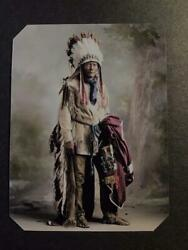 Sixth-plate Native American Indian Tinted Tintype C2415rp