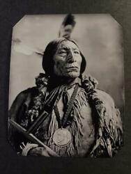 Sixth-plate Native American Indian Wolf Robe - Southern Cheyenne Tintype C2417rp