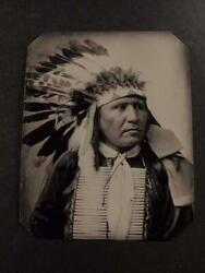 Sixth-plate Native American Sioux Chiefs. C.1899 Tintype C2430rp