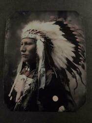 Sixth-plate Native American Sioux Chiefs 3. C.1899 Tintype C2432rp