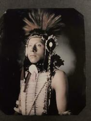 Sixth-plate Native American Indian Tintype C2439sitting Eagle, Of The Crow Trrp