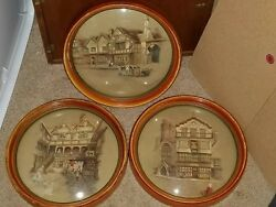 3 Wood Framed Convex Glass Paintings By Clyde Cole Framed By Peter Watson Studio