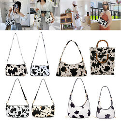 Cow Milk Women Handbag Retro PU Underarm Shoulder Bags Daily Travel Totes Purse $15.14