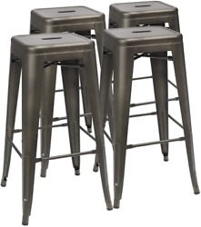 New 30 Inches Metal Bar Stools High Backless Stools Indoor-outdoor Stackable