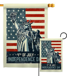 Liberty July 4th Fourth Statue Independence Day America Garden House Yard Flag