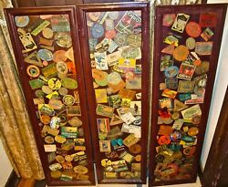 Three Framed Collage Panels Of Old Luggage Labels. Room Dividers.
