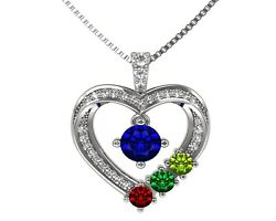 Nana Mother And Child Heart Family Necklace 1-6 Stones 14k Gold