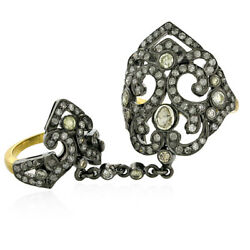 Natural Pave Diamond Connector Ring 18k Gold Sterling Silver Handmade Jewelry