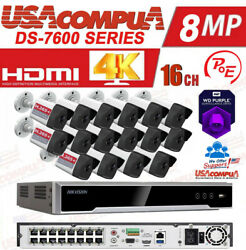 Hikvision Ip Security Camera System Kit 16ch 4mp Poe Bullet Hdd Included