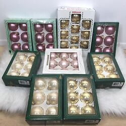 Vintage Lot Of 9 Boxes Of Christmas By Krebs Glass Ornaments 61 Ornaments Gold