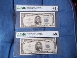 1953 Silver Certificates 5 Crisp Notes Lot Of 2 Consecutive Notes