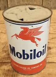 Vintage 1qt Mobil Motor Oil Tin Can Gas Service Station Flying Pegasus Graphic
