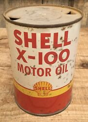 Vintage 1 Qt Shell X-100 Motor Oil Tin Can Gas Service Station Auto Advertising
