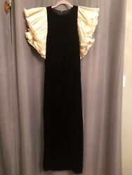 Vintage Jill Richards Black Velvet Evening Gown with Ruffled Sleeves 1970#x27;s $175.00