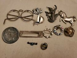 Vintage Sterling Silver 925 Lot Brooches Brooch Glasses Indian Horse Signed