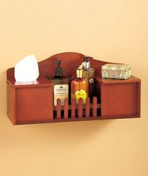 White Walnut Wooden Tissue And Toilet Paper Holder Country Fence Wooden Shelf