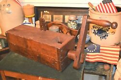 Museum Quality 1700-1800and039s Primitive Hand Made Wood Tobacco Sausage Meat Grinder