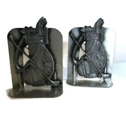Vintage 1990and039s Silver Color Metal Golf Bag Bookends Decorative Golf Book Ends