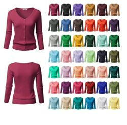 FashionOutfit Women SLIM FIT Solid Button Down V-Neck 34 Sleeves Knit Cardigan $14.98
