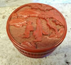 Vintage Chinese Carved Red Cinnabar Lacquer 5 Diameter Trinket Box And Cover