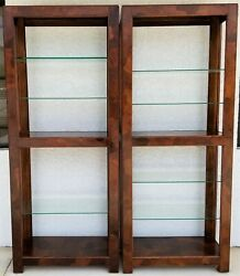 Vtg Mcm American Of Martinsville Multi Exotic Wood Display Case Etagere - A Pair