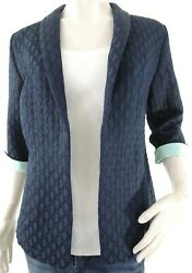 Christopher Banks Blazer Petite Small Blue Quilted Turquoise Trim 3/4 Sleeve Nwt