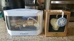 Set Of Wedgwood Horse And Carriage Ornament White And Gold Signed Original Box