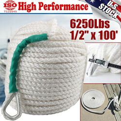 1/2x100and039 Twisted 3 Strand Nylon Anchor Rope Boat W/thimble Rigging Line 6250lbs